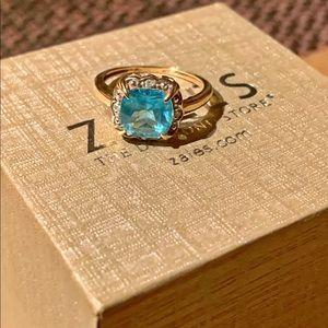 Cushion Cut Blue Topaz,Diamond Accent Framed Ring